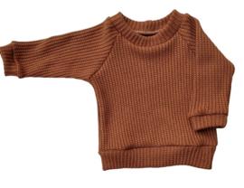 Trui big knit cognac