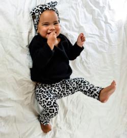 Setje big knit zwart leopard