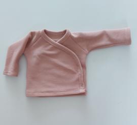 Overslag shirt rib nude pink
