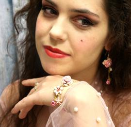Armband Roze Bloemen