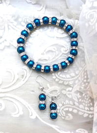 Oorbellen en Armband Blue Chique