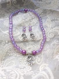 Ketting en Oorbellen Lilac&Rose