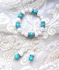 Oorbellen en Armband Fresh Turquoise