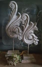 Houten Ornament   Vintage Grey