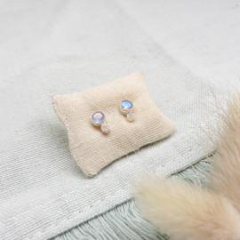 Muja Juma oorbellen labradoriet, roze maansteen