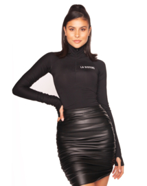 LA Sisters 'Leather Draped Mini Skirt' - zwart