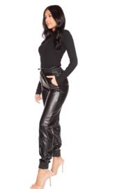 LA Sisters 'Faux Leather Jogging Pants' - zwart