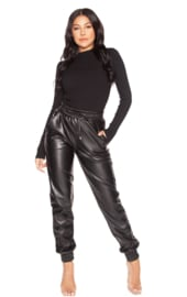 LA Sisters 'Faux Leather Jogging Pants' - zwart