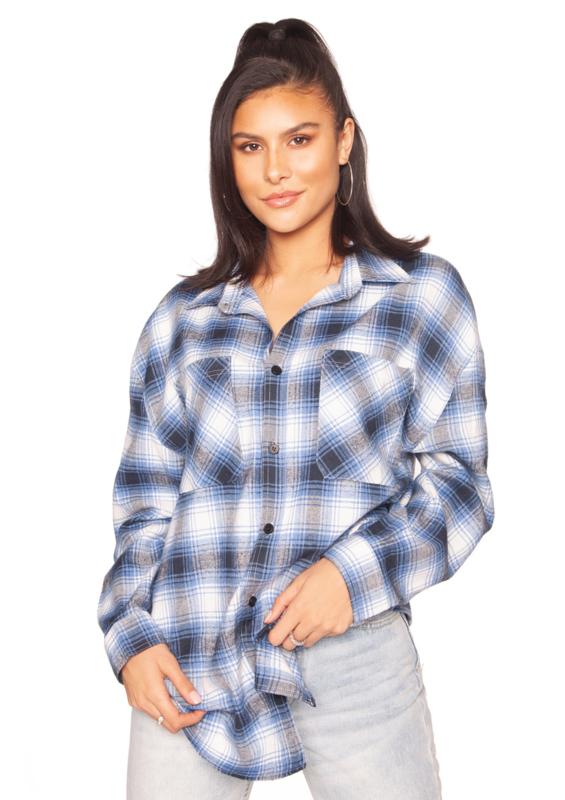 LA Sisters 'Oversized Check Shirt' - blauw