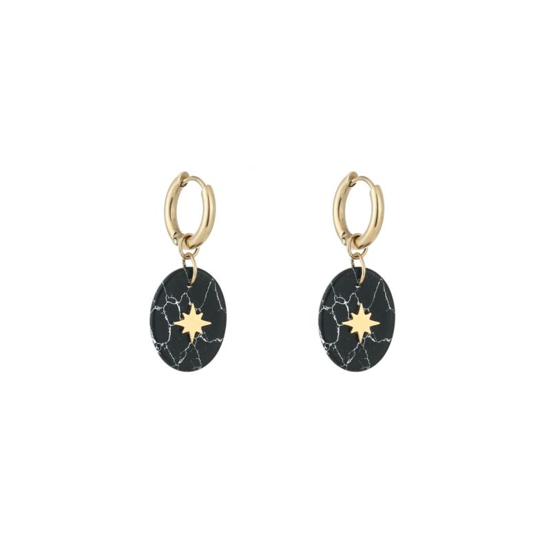 Oorbellen 'Marble Star' - goud