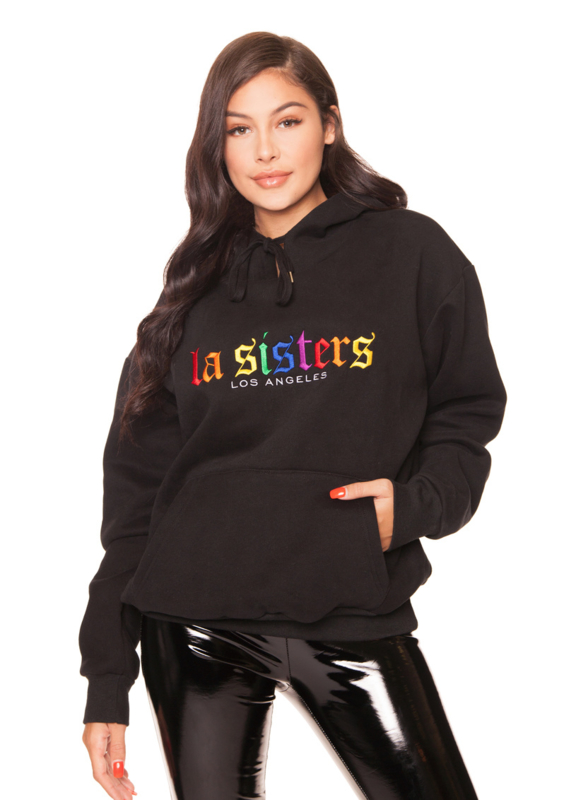 LA Sisters 'Rainbow Hoodie' - zwart
