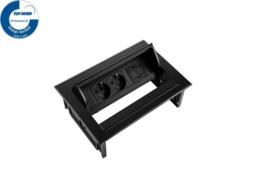 Power Desk In - 2x 230V + 1x Keystone - Zwart