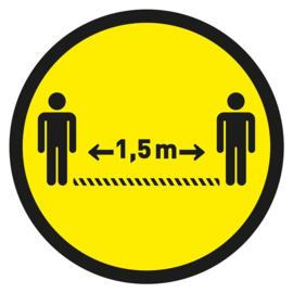 Vloersticker 30 cm rond geel / zwart