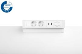 Power Desk Up® 2.0 - 2x 230V, 2x Usb charge, 1x keystone - Wit
