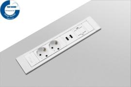 Power Desk Insert - 2x 230V + 2x USB Charger + 1x keystone - 50Cm GST18 - Wit/Alu