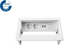 Power Desk In - 2x 230V + 2x USB Charger + 1x Keystone - Wit