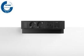 Power Desk Up® 2.0 - 2x 230V, 2x Usb charge, 1x keystone - Zwart
