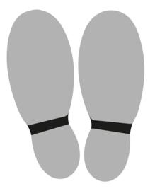 Vloersticker voeten 2 x licht grijs / zwart