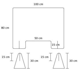 Plexiglas baliescherm 100Bx80H cm.