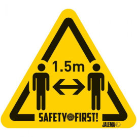 Warning sticker - stay 1,5 m - 150x170 mm.