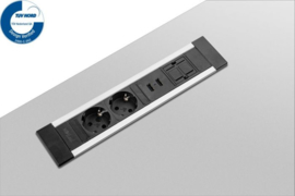 Power Desk Insert - 2x 230V + 2x USB Charger + 1x keystone - 50Cm GST18 - Zwart/Alu