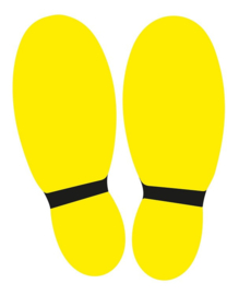 Vloersticker voeten 2 x geel / zwart