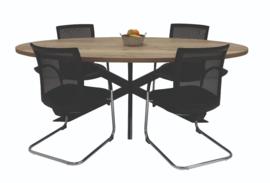 Ovale tafel met stervoet 220x110 cm.
