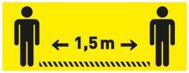 Vloersticker 40 X 15 cm geel / zwart