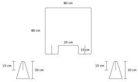 Plexiglas baliescherm 80Bx80H cm.