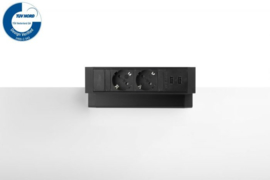 Power Desk Up® 2.0 - 2x 230V, 2x Usb charge - Zwart