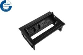 Power Desk In - 2x 230V + 2x USB Charger + 1x Keystone - Zwart