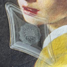 Vintage glazen schaal Kantwerk