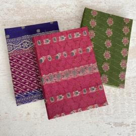Notebook vintage sari groen roze bloem