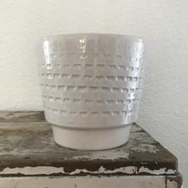 Witte vintage bloempot Fohr Keramik