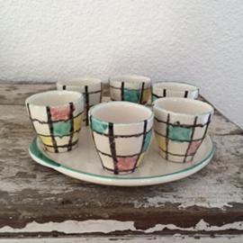 Vintage set eierdoppen Mondriaan