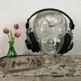 Vintage glazen hoofd / koptelefoonhouder