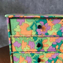 Vintage stoffen ladenkastje 80s