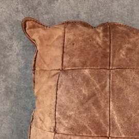 Vintage leren patchwork kussen