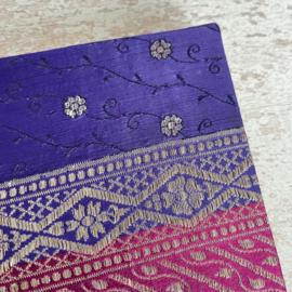 Notebook vintage sari paars/roze
