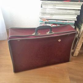 Vintage bordeaux skai leer koffertje