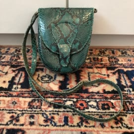 Groen vintage slangenleer tasje