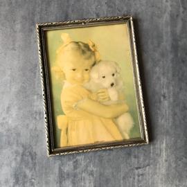 Fifties schilderijtje meisje met puppy