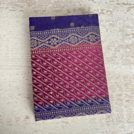 Notebook vintage sari roze/paars