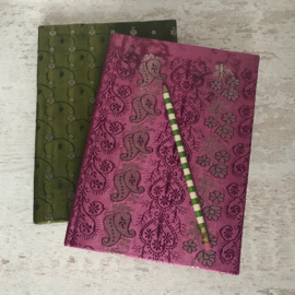 Notebook vintage sari roze/zilver