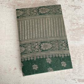 Notebook vintage sari groen/goud