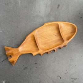 Vintage houten schaal Vis
