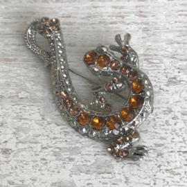 Vintage broche salamander