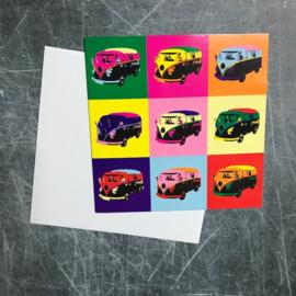Ansichtkaart Volkswagen camper pop-art