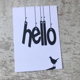 Ansichtkaart 'HELLO'