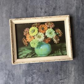 Antiek schilderijtje met bloemen